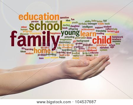 Concept or conceptual education abstract word cloud, human man hand, rainbow sky background