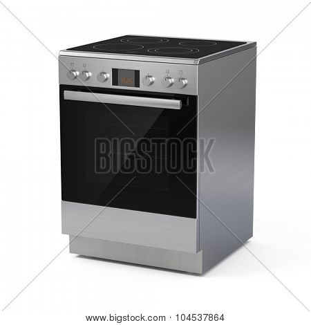 Modern electric range isolated on white