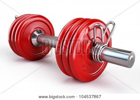 Dumbbells weights over white background