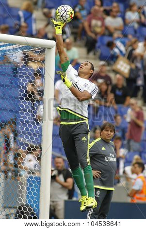 BARCELONA - SEPT, 12: Keylor Navas of Real Madrid before a Spanish League match against RCD Espanyol at the Power8 stadium on September 12 2015 in Barcelona Spain