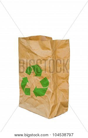 Rumpled Brown Paper Bag Opened With Green Recycle Sign, Isolated On A White Background.