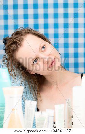 Girl Is Primping In Bathroom