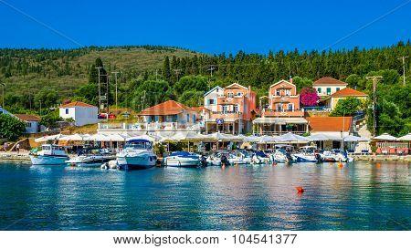 Port Of Fiskardo On Kefalonia Island, Greece.