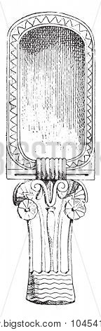 Spoon rectangular container, vintage engraved illustration. Private life of Ancient-Antique family-1881.