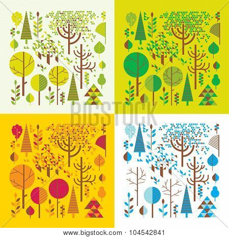 Forest In Four Seasons.