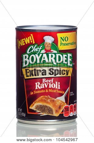 MIAMI, USA - JAN 19, 2015: 15 ounce can of Chef Boyardee brand Mini Ravioli in Meat Sauce.