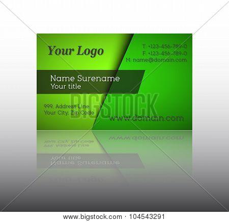 Vector illustration of modern green business card