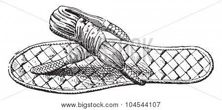 Egyptian sandals, vintage engraved illustration.