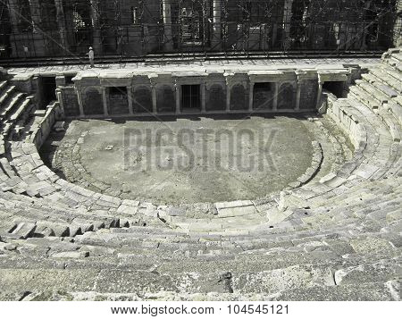 Ruins Of Theater In Ancient Town Hierapolis Turkey