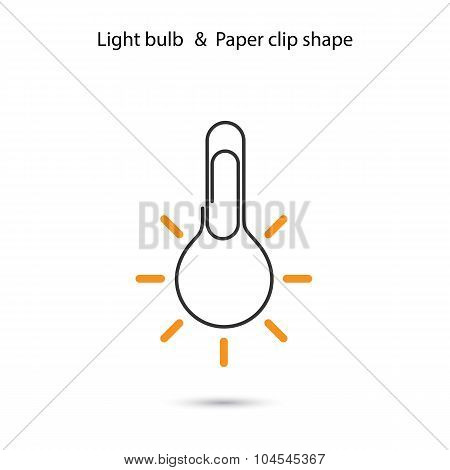 Creative Light Bulbl Logo Design,paper Clip Sign.concept Of Ideas Inspiration, Innovation, Invention
