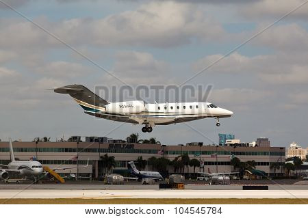 FORT LAUDERDALE, USA - JUNE 2, 2015: Cessna 750 Citation X landing.
