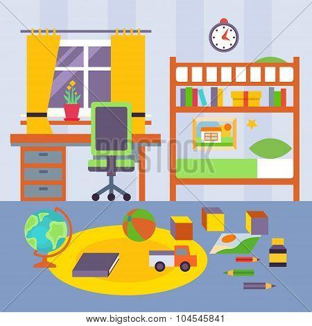 Kid Bedroom. Vector Illustration