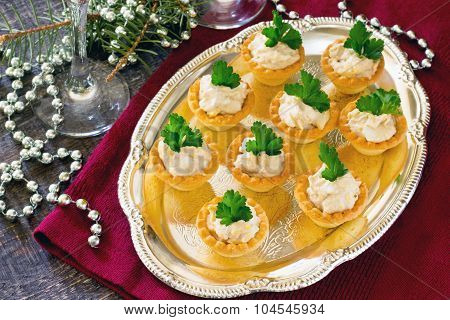 Tartlets With Cod Liver Mousse On New Year's Eve