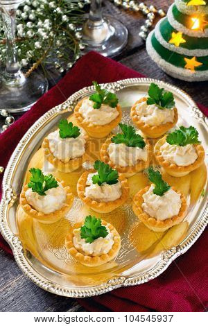 Tartlets With Cod Liver Mousse On New Year's Eve, Selective Focus