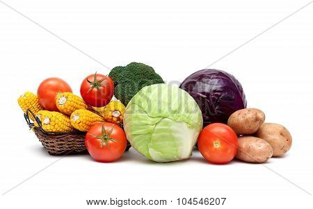 Fresh Ripe Vegetables Isolated On A White Background
