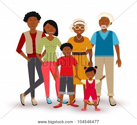 Happy African American Family Illustration