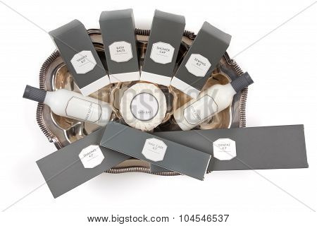 Hotel amenities kit on silver platter