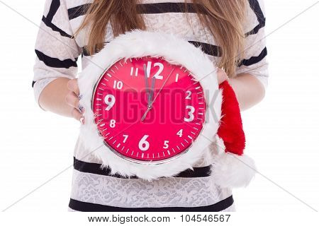 Big Clocks A Christmas Hat In Female Hands. New Year. 12 Hours