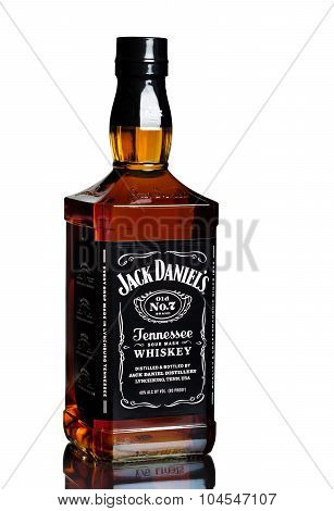 MIAMI, USA - February 12, 2015: Bottle of Jack Daniels.Jack Daniel's is a brand of sour mash.