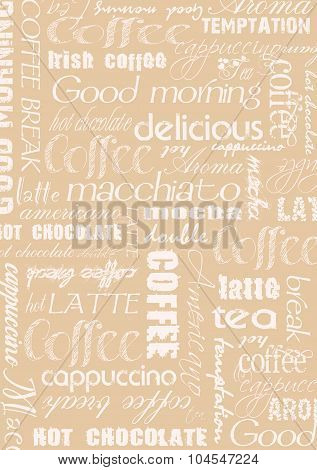 Coffee text wordcloud background