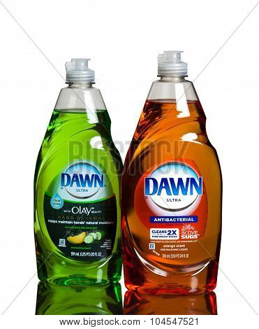 MIAMI, USA - February 19, 2015: Dawn dish washing detergent combines its grease-cutting power.