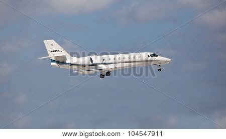 FORT LAUDERDALE, USA - April 5, 2015: Cessna 680 Citation Sovereign on final approach.