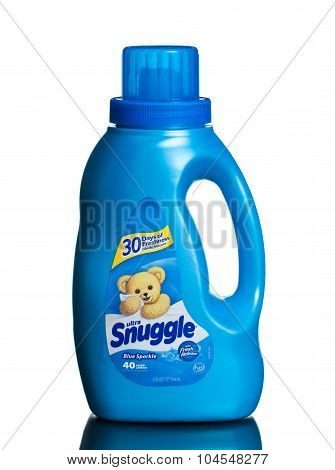 MIAMI, USA - February 19, 2015: Snuggle Blue Sparkle Fresh Scent Liquid Fabric Softener 32 oz.