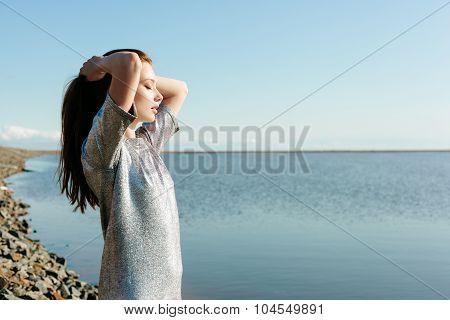 Beautiful Young Woman Outdoors Portrait Near Lake