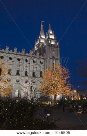 Salt Lake Temple East Spires And Christmas Lights