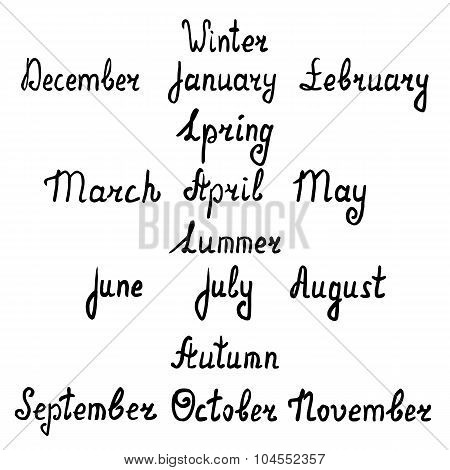 Hand-written Names Of Seasons And Months Of The Year. Vector Illustration
