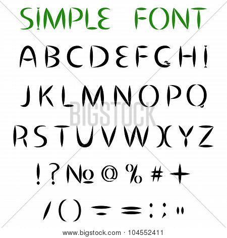 Simple Font. Uppercase Letters With Sharp Ends, And Punctuation. Vector Illustration
