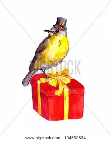Bird with christmas mistletoe on red present box. Watercolor