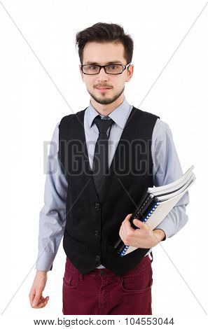 Office employee holding paper isolated on white