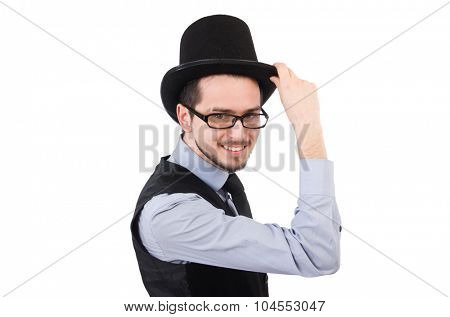 Young man in hat isolated on white