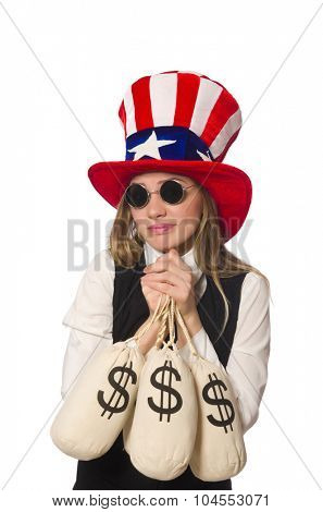Woman with money sacks isolated on white