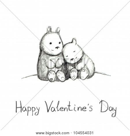 Romantic pencil sketch with cute teddy bears for Valentine day