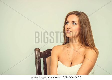 Beautiful Sexy Girl In White Dress Sit On Chair Surprized,isolated