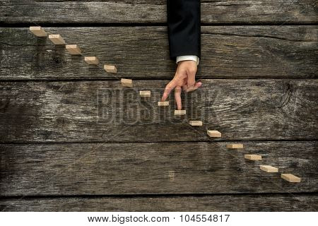 Businessman Walking His Fingers Up Steps