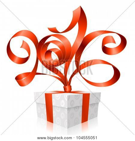 Vector red ribbon and gift box.Symbol of New Year 2016