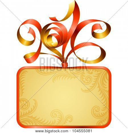 Vector gift box frame and ribbon in the shape of 2016. Symbol of Christmas or New Year 2016