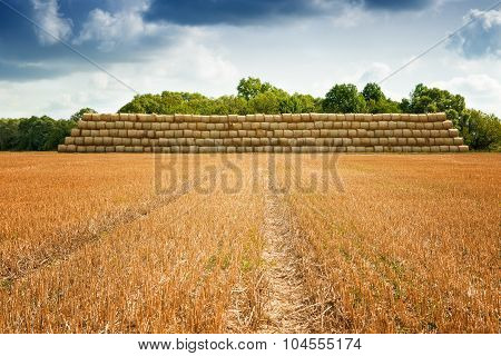 pile of cylinder haystacks