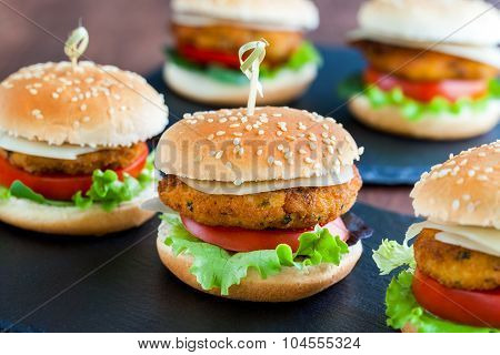 Appetizing Mini Chicken Burgers.