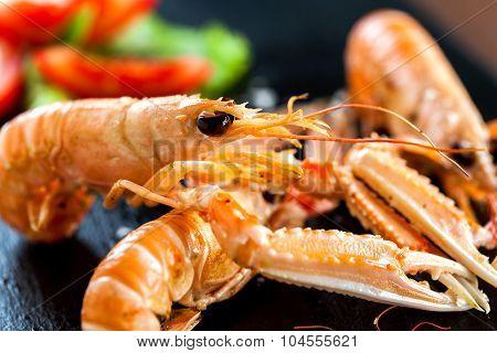Macro Close Up Of Giant Crawfish Platter.