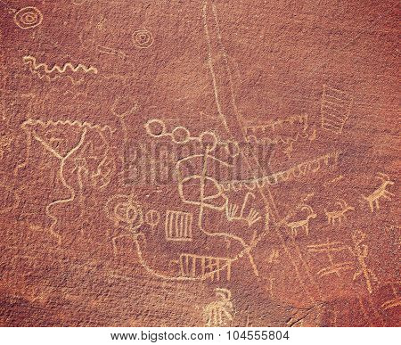 Ancient Petroglyphs On Rock In Valley Of Fire State Park, Usa.