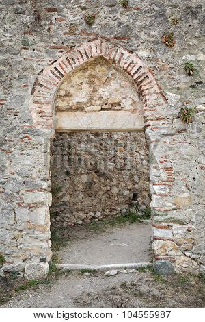 Stone Door In Platamon Castle, Greece