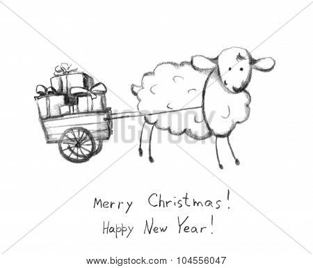 Christmas sheep and sledge with gift box. Pencil painted sketch