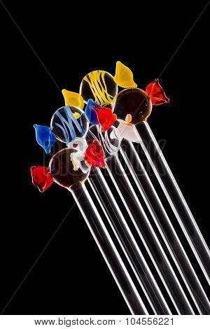 Set of glass stirrers