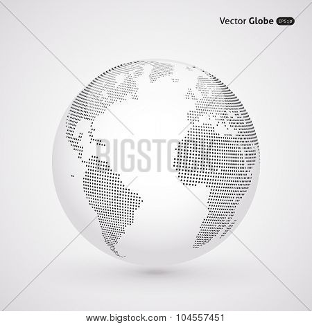 Vector abstract dotted globe, Central heating view on Atlantic ocean region