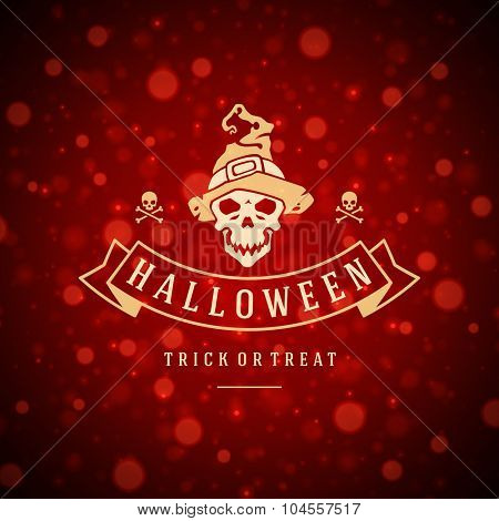 Happy Halloween Typographic Design Vector Background and Skull