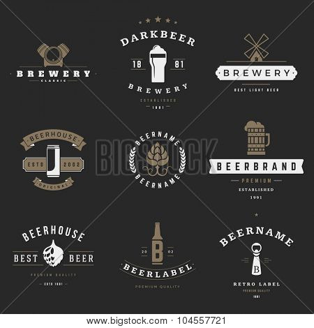 Vintage beer brewery logos, emblems, labels, badges and design elements